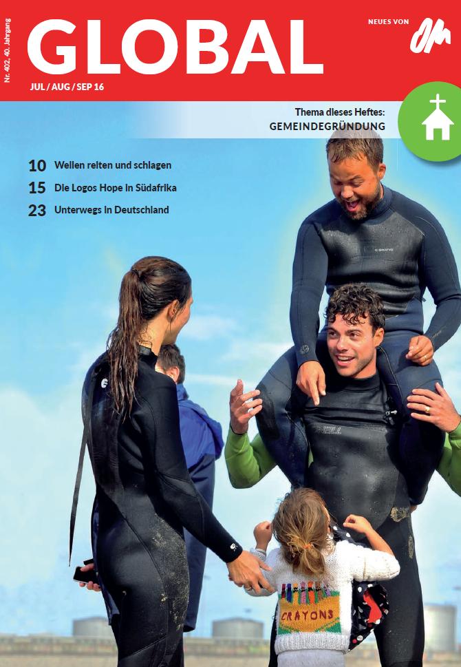 Cover der Global Juli/Aug/Sep 16 mit Mitarbeitern der Gemeindegründung unter Surfern in Portugal