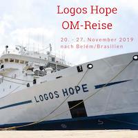Werbung für OM-Reise zur Logos Hope, Bild der Logos Hope