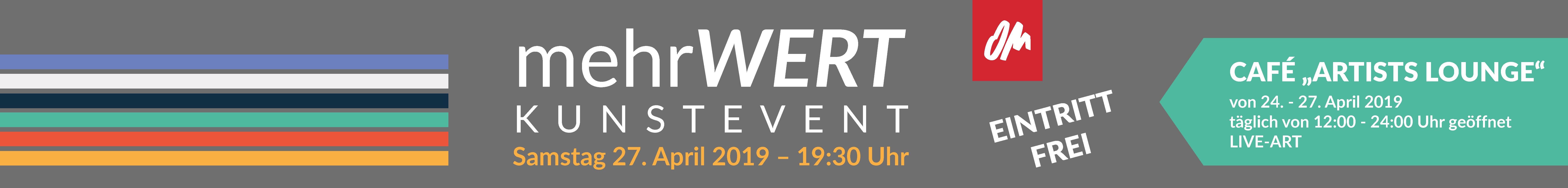 Werbebanner für das Kunstevent Mehrwert am 27. April 2019