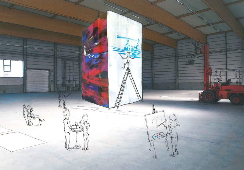 Visualisierung des geplanten Turms bei der Ausstellung Mehrwert