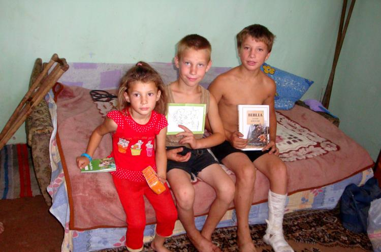 Andrian and his siblings came to a day camp run by a 'Love Moldova' outreach team that also visited their family with a food parcel. While his sister kept holding and smelling the soap that had been included in the gift, Andrian was especially excited abo