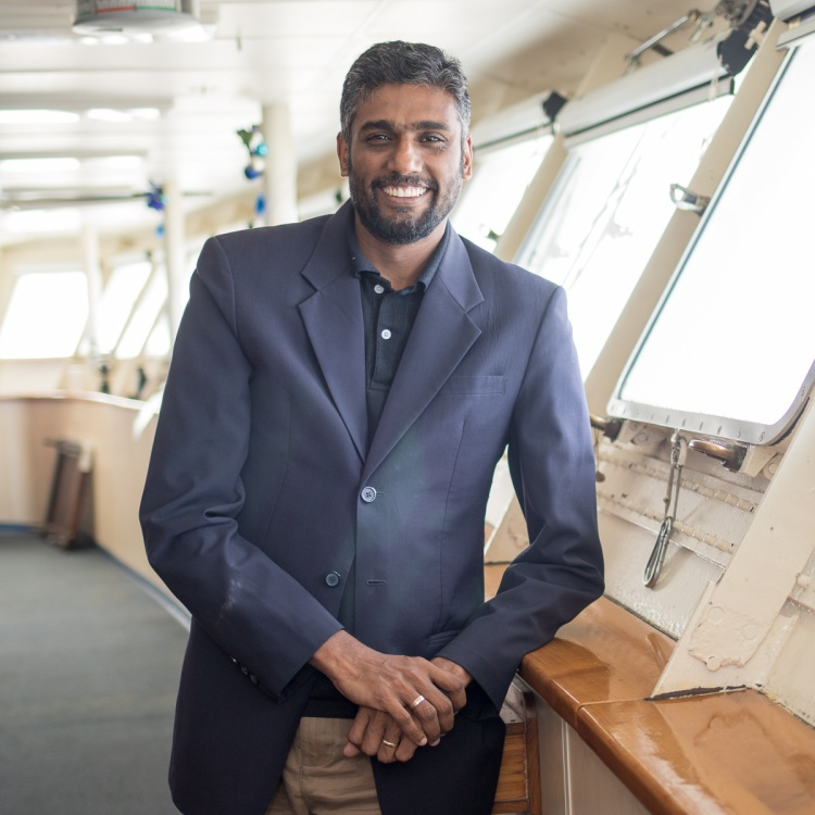 Seelan Govender on the bridge of Logos Hope